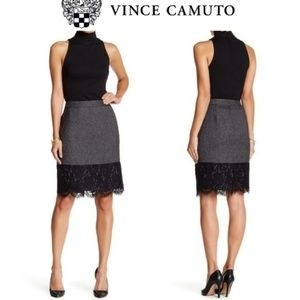 Vince Camuto Gray Tweed Pencil Lace Hem Skirt 6